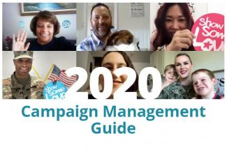 "Images of six federal employees with ""2020 Campaign Management Guide"" superimposed"